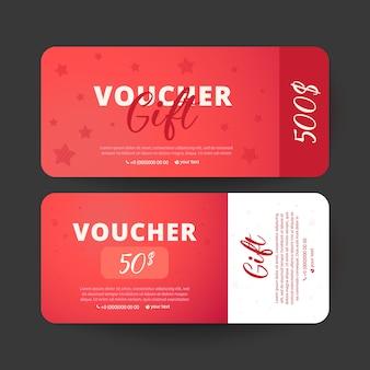 Plantilla de vales. diseño utilizable para cupones de regalo, cupones, invitaciones.