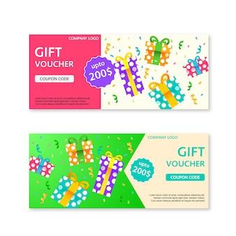 Plantilla de vales de regalo con cajas de regalo