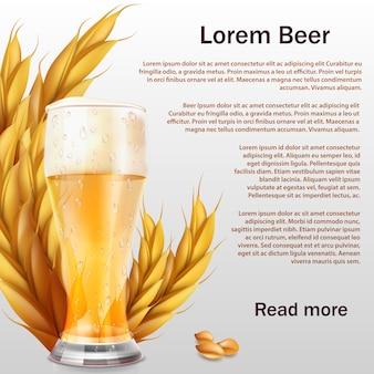 Plantilla de vaso de cerveza realista con espigas de cereales
