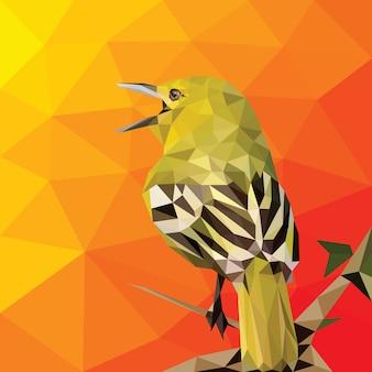 Plantilla de vector de arte poligonal bajo de pájaro geométrico