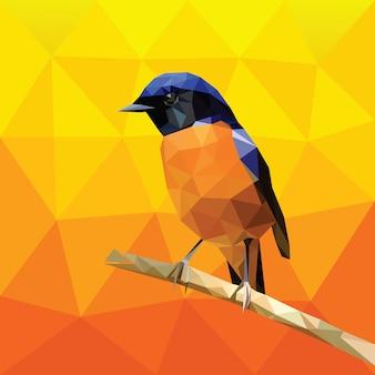 Plantilla de vector de aves poligonal baja geométrica