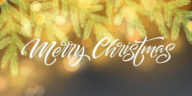 Plantilla de vector de banner de feliz navidad. rama de abeto realista con piña sobre fondo azul con efecto bokeh. letras de navidad con sombra y brillantes destellos dorados. cartel, diseño de postal