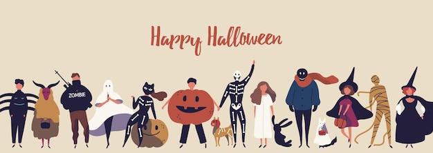 Plantilla de vector de banner plano de feliz halloween. niños en personajes de dibujos animados de trajes espeluznantes. felicitación de vacaciones de otoño. niños en ilustración de disfraces de araña, fantasma, momia y bruja con tipografía.