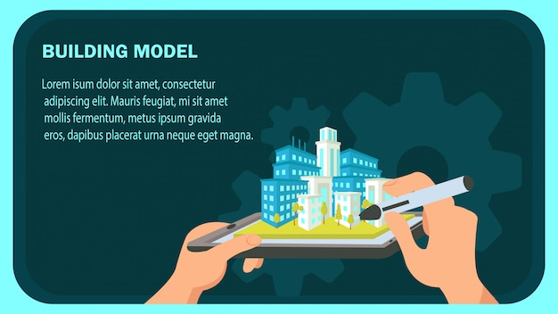 Plantilla de vector de banner de sitio web modelo de construcción.