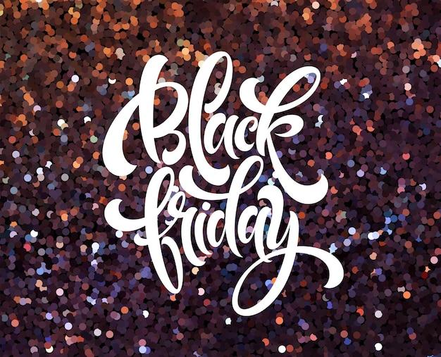 Plantilla de vector de banner de viernes negro con efecto brillo. letras caligráficas de viernes negro sobre fondo brillante brillo. textura de confeti brillante. venta de diseño de carteles publicitarios con fondo brillante.