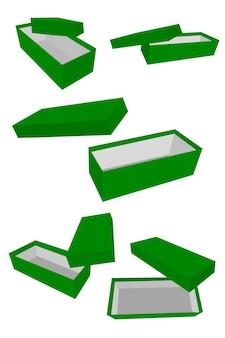Plantilla de vector de boceto de dibujo a mano simple o maqueta de caja de zapatos púrpura, aislado en blanco