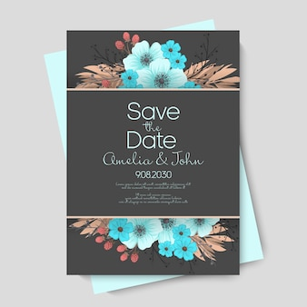 Plantilla de vector de boda floral