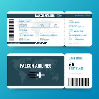 Plantilla de vector de boleto moderno pase de embarque de viaje de línea aérea