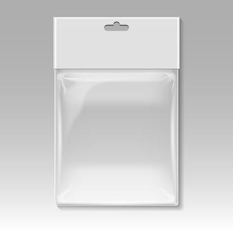 Plantilla de vector de bolsa de plástico en blanco
