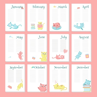Plantilla de vector de calendario planificador con lindos gatos