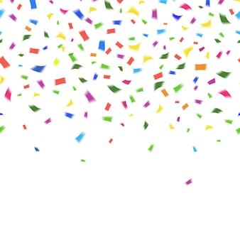 Plantilla de vector de confeti de colores vibrantes en los colores del arco iris en blanco con copyspace para el texto de su tarjeta de felicitación o invitación