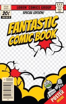 Plantilla de vector de cubierta de cómic. cartel de cómic, ilustración de la página de la revista editable.