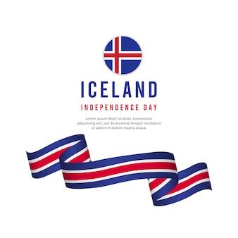 Plantilla de vector de día de la independencia de islandia.