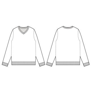 Plantilla de vector de dibujo técnico plano de moda suéter