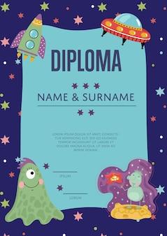 Plantilla de vector de dibujos animados de diploma