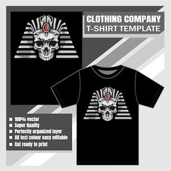 Plantilla con vector de diseño de cráneo faraón como camiseta de impresión de oferta