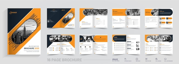 Plantilla de vector de diseño de folleto corporativo de 16 páginas corporativas