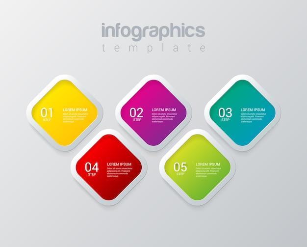 Plantilla de vector de diseño de infografías plantilla multicolor colección de conceptos de fondo de infografía