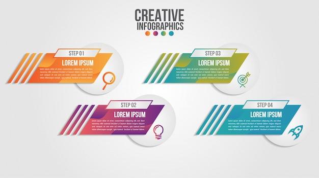 Plantilla de vector de diseño de línea de tiempo moderna de infografía para negocios con 4 pasos u opciones