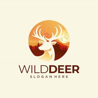 Plantilla de vector de diseño de logo de ciervos coloridos