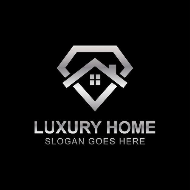 Plantilla de vector de diseño de logotipo de bienes raíces premium de casa de diamante metálico o casa de lujo
