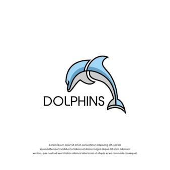 Plantilla de vector de diseño de logotipo de delfines