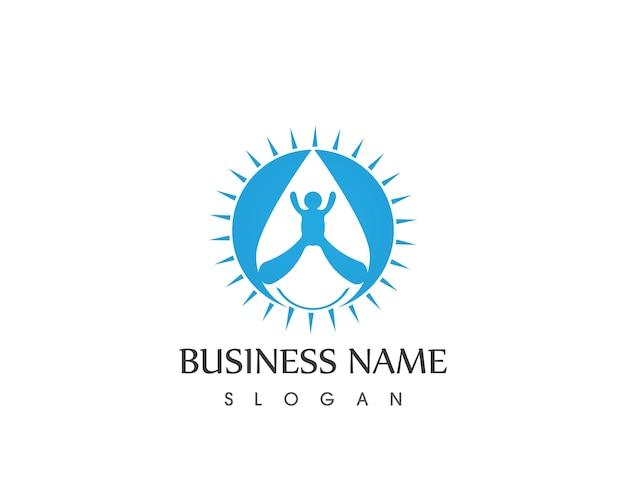 Plantilla de vector de diseño de logotipo de icono de agua de pueblo