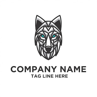 Plantilla de vector de diseño de logotipo de lobo