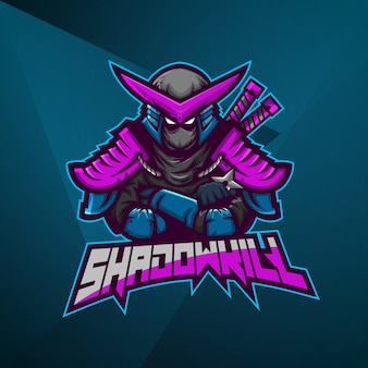 Plantilla de vector de diseño de logotipo de mascota deportiva esport ninja samurai fighter