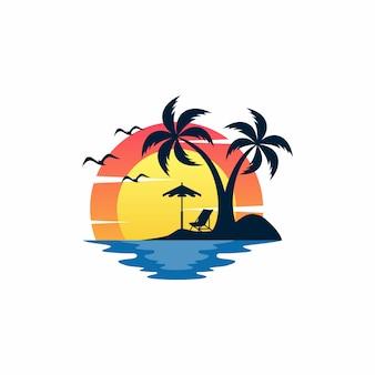 Plantilla de vector de diseño de logotipo de playa