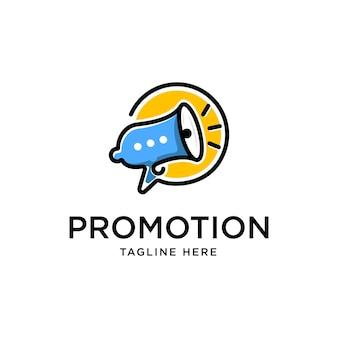 Plantilla de vector de diseño de logotipo de promoción de chat de burbuja de altavoz de megáfono