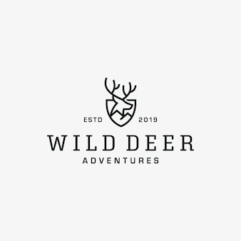 Plantilla de vector de diseño de logotipo vintage de ciervos salvajes