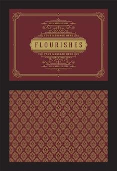 Plantilla de vector de diseño de marco de viñetas adornadas caligráficas de tarjeta de felicitación de adorno vintage