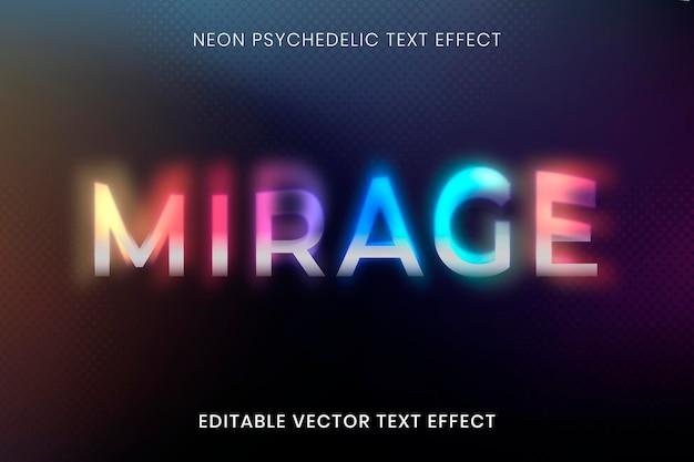 Plantilla de vector de efecto de texto editable, tipografía psicodélica de neón
