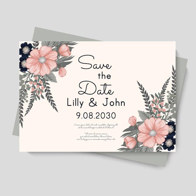 Plantilla de vector floral de boda