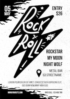 Plantilla de vector de folleto plano de concierto de música rock. fiesta de rock n roll, banner de eventos de entretenimiento.