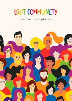 Plantilla de vector con hombres y mujeres jóvenes en colores lgbt.