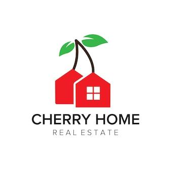 Plantilla de vector de icono de logotipo de casa de cereza