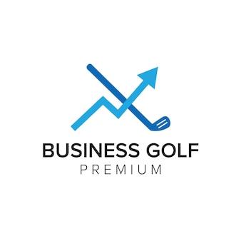 Plantilla de vector de icono de logotipo de golf de negocios