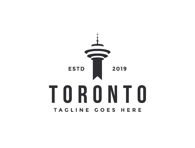 Plantilla de vector de icono de logotipo de torre de toronto sobre fondo blanco