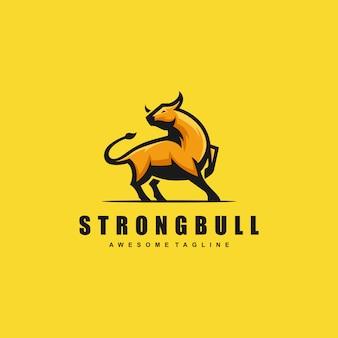 Plantilla de vector de ilustración de concepto de bull fuerte