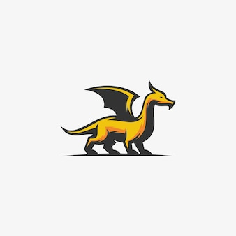 Plantilla de vector de ilustración de dragón abstracto