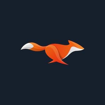 Plantilla de vector de ilustración de fox design concept corriendo