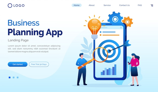 Plantilla de vector de ilustración plana de la página de inicio de la aplicación de planificación de negocios