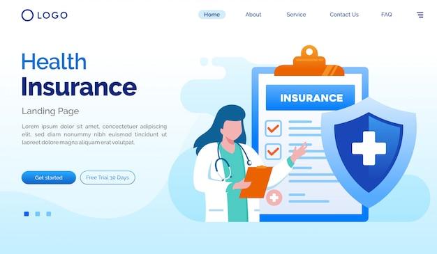 Plantilla de vector de ilustración plana de página de inicio de seguro de salud