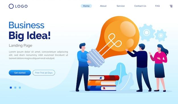 Plantilla de vector de ilustración de sitio web de página de inicio de gran idea de negocio