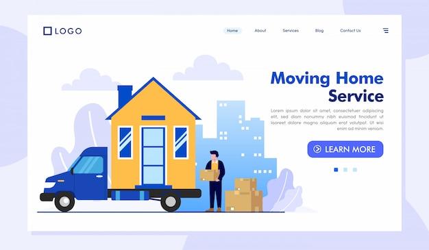 Plantilla de vector de ilustración de sitio web de página de inicio de servicio de mudanza