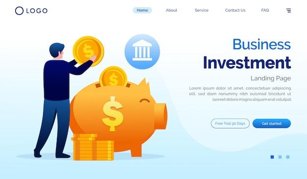 Plantilla de vector de ilustración de sitio web de página de inversión de negocios