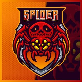Plantilla de vector de ilustraciones de diseño de logotipo de esport de mascota de calavera de araña viuda negra, logotipo de tarántula para el juego de equipo streamer youtuber banner twitch discord