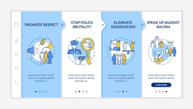 Plantilla de vector de incorporación de compromiso contra el racismo. sitio web móvil receptivo con iconos. tutorial de la página web pantallas de 4 pasos. detener el concepto de color de brutalidad policial con ilustraciones lineales